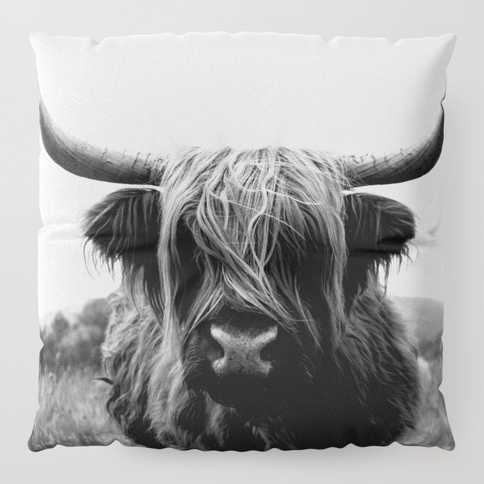 Scottish Highland Cattle Black and White Animal Floor Pillow by ...
