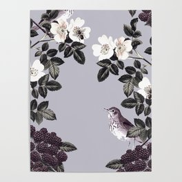 Birds and the Bees Blue Gray Poster