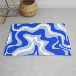 Retro Liquid Swirl Abstract Pattern Royal Blue, Light Blue, and White  Rug