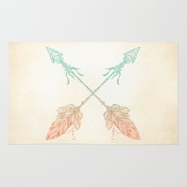 Tribal Arrows Turquoise Coral Gradient Rug