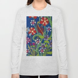 Starry Floral Felted Wool, Blue Long Sleeve T-shirt