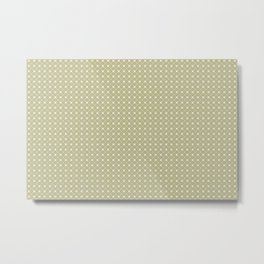 Cream on Earthy Green Parable to 2020 Color of the Year Back to Nature Polka Dot Grid Pattern Metal Print