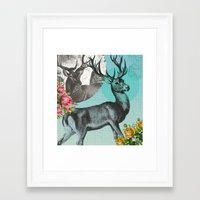 stag Framed Art Prints featuring Stag by Ginger Pigg Art & Design