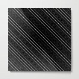 Minimal Diagonal Black and White Stripes Metal Print