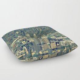indianapolis city skyline green Floor Pillow