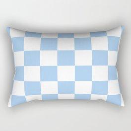 Checkered - White and Baby Blue Rectangular Pillow