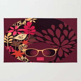 Afro Diva : Sophisticated Lady Deep Pink & Burgundy Rug