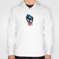 puerto rico Hoodies featuring Puerto Rican Flag on a Raised Clenched Fist by Jeff Bartels
