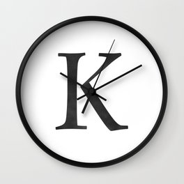 Letter K Initial Monogram Black and White Wall Clock