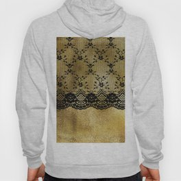 Black floral elegant lace on gold metal background Hoody