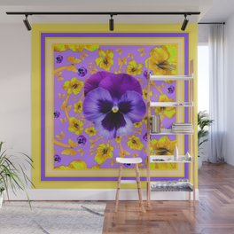PANSIES YELLOW BUTTERFLIES & FLOWERS GARDEN Wall Mural