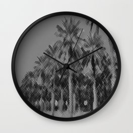Date Palms in Arizona - Black & White Pencil Drawing Wall Clock