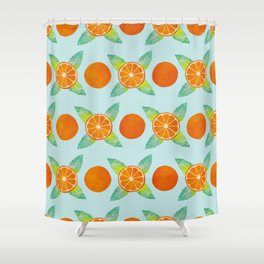 Watercolor Oranges Pattern in Blue Shower Curtain