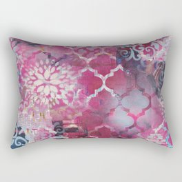 Mixed Media Layered Patterns - Deep Fuchsia Rectangular Pillow