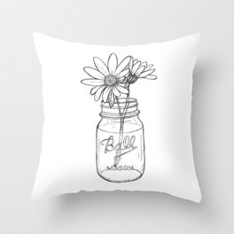 Flowers in a Jar   Mason Ball Jar Sunflowers Daisies Throw Pillow