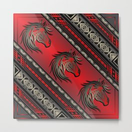 Horse Nation (Red) Metal Print