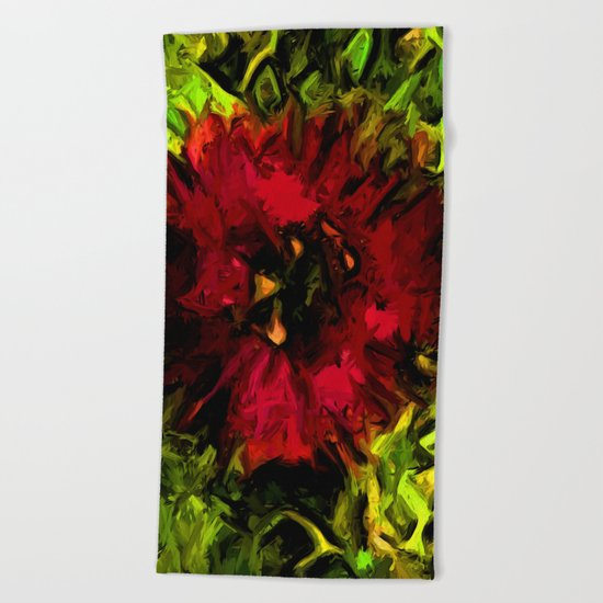 Red Flower and Green Leaves with Black Lines Beach Towel