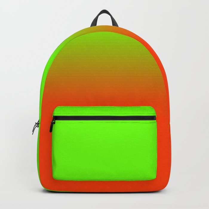Neon Green and Neon Orange Ombré  Shade Color Fade Backpack