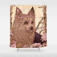 yorkie Shower Curtains featuring Yorkie by Angela Rizza