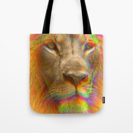 Psychedelic Glitch Trippy Lion Close-up Print Tote Bag