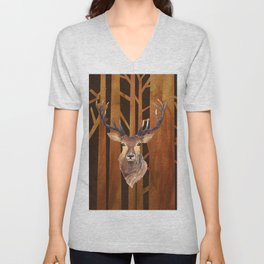 Proud deer in forest 1- Watercolor illustration Unisex V-Neck