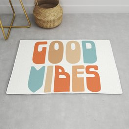 Good Vibes. Retro Lettering in Orange, Tan, and Light Blue on White. Spread Positivity Rug