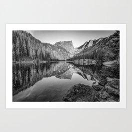 Dream Lake Monochrome Mountain Landscape Reflections Art Print