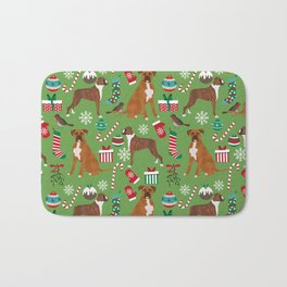 Boxer dog christmas pattern must have holiday themed dog breed pet friendly accessories for home Bath Mat