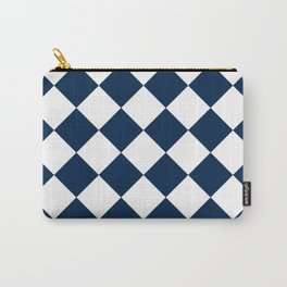 Large Diamonds - White and Oxford Blue Carry-All Pouch
