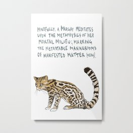 M is for Mirific - Margay on White Metal Print
