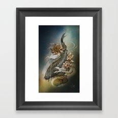 Koi and Lotus Framed Art Print