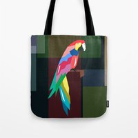 parrot Tote Bags featuring parrot by mark ashkenazi