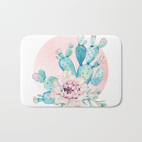 Desert Cactus Flower with Rose Gold Sun Bath Mat