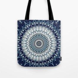 Indigo Navy White Mandala Design Tote Bag