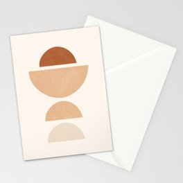 Abstract Geometric Shapes, Mid Century, Abstract Half Circles, Terracotta Earth Tones Semicircles Stationery Cards