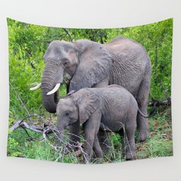 african elephant mother with baby Wall Tapestry