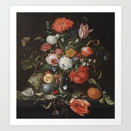 Jan Davidsz de Heem - Flower Still Life with a Bowl of Fruit and Oysters (c.1665) Art Print