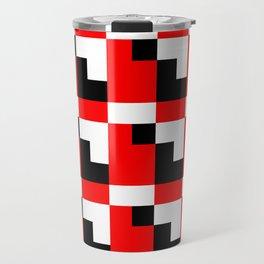 Red black step pattern Travel Mug