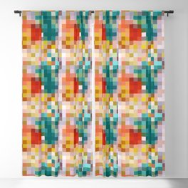 Flower pot - abstract mosaic background with colorful squares Blackout Curtain