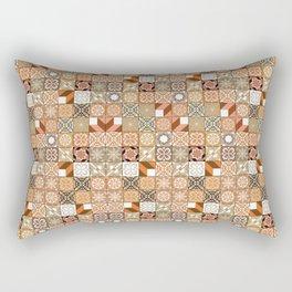 Oriental Tiles | Orange Pattern Rectangular Pillow