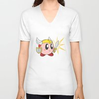 kirby V-neck T-shirts featuring Valkyrie Kirby by Mel W.