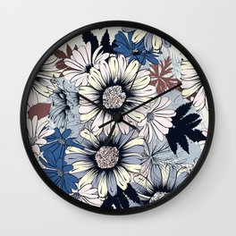 Cute floral pattern in vintage stylewith daisy flowers Wall Clock