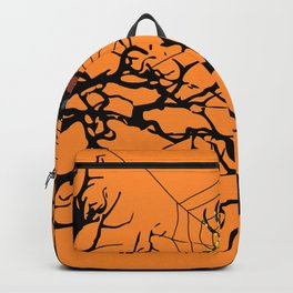 Halloween trees and spiderweb between - orange background Backpack