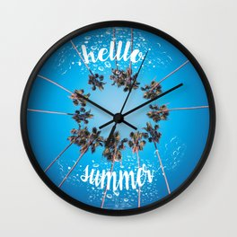 hello summer palm trees design 3 Wall Clock