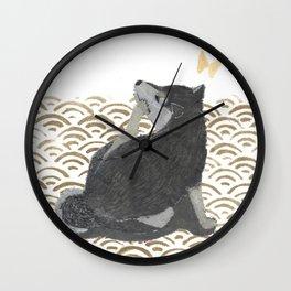 SHIBA INU, DOG, SEIGAIHA, JAPANESE Wall Clock