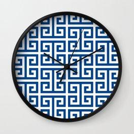 Denim Blue and White Greek Key Pattern Wall Clock