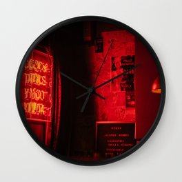 Red Neon Room Wall Clock