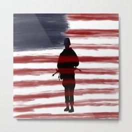 Soldier and Flag - Patriotic Metal Print