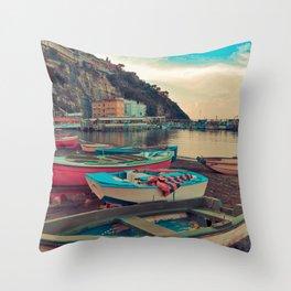 Boats of Sorrento Throw Pillow