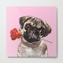 Pug with Red Rose Metal Print